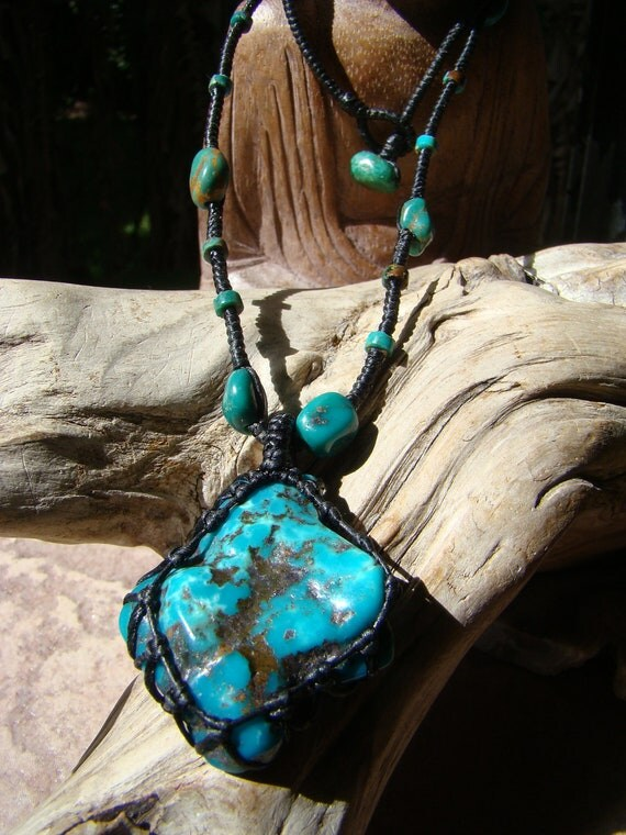 "Natural Real Turquoise Gemstone Pendant Macrame Necklace - Old time weave & knot - 18"" Necklace of waxed Hemp Cord"