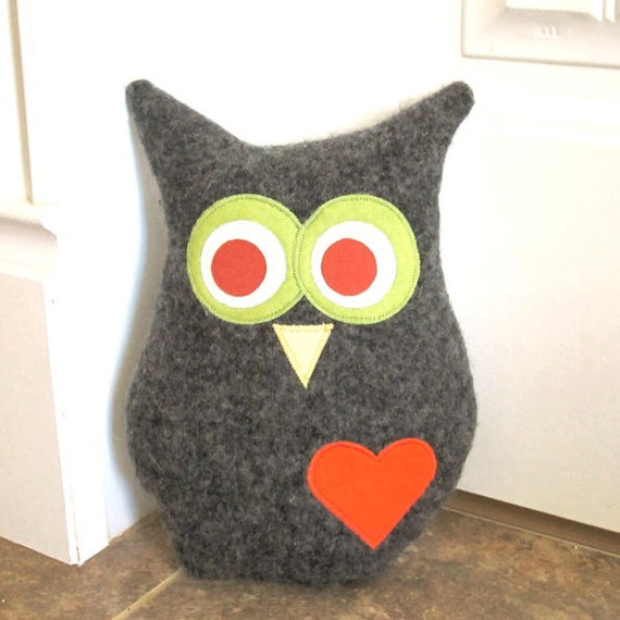 Recycled Halloween Decorations: Owl Pillow Plush Recycled Wool Halloween By PinkBunnyPatterns