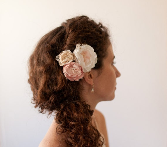 Hair flowers, set of bobby pins in blush dusty pink, champagne and ivory, bridal rhinestones and pearls