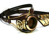 STEAMPUNK MONOGOGGLE and EYEPATCH  brown leather polished brass gears Flex Solid Frame ///
