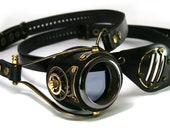 STEAMPUNK MONOGOGGLE and EYEPATCH  black leather blackened brass gears Flex Solid Frame O