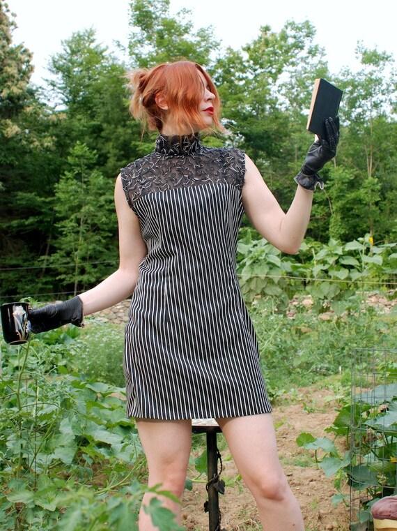 Vintage 80s goth lolita silver and black high mesh collar striped goth mini dress