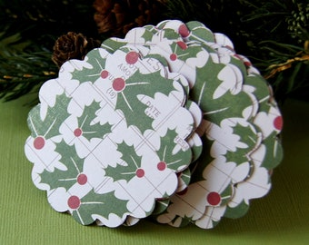 20 Christmas Holly Berry Scallop Tags . Double Sided with Dots for Scrapbooking, Favor Tags, Cupcake Toppers . 2.5 inch