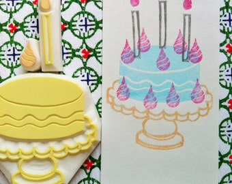 cake rubber stamp set.  cake candle cream hand carved rubber stamps. wedding birthday cake.  favor bag gift wrapping. card making. set of 3