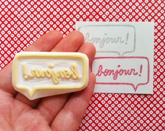 bonjour hand carved rubber stamp. hello hand lettered stamp. speech bubble stamp. crafty scrapbooking. mail art. gift wrapping
