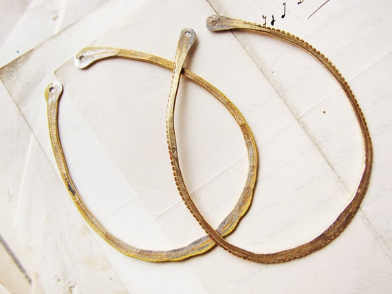 large handmade hoop findings - hammered reclaimed gold tone metal - earring supply - sparrow salvage studio - 1 pair