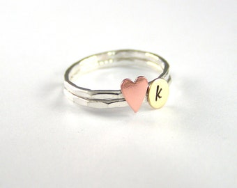 Mothers Ring, Custom Initial Ring, Heart Ring, Copper Heart Ring, Stack Rings,Personalized Ring, Sterling Stack Ring
