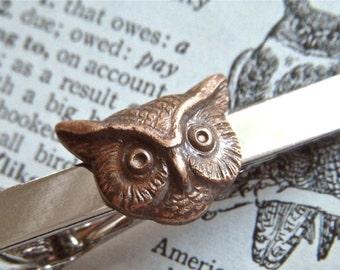 Owl Tie Clip Owl Tie Bar Vintage Style Silver Tie Bar Tiny Brass Owl Head Men's Tie Clip