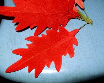 "Vintage RED VELVET  Oak Leaves 6"" Millinery Hat Flower DIY Leaf  Wreath Corsage Trim Christmas"