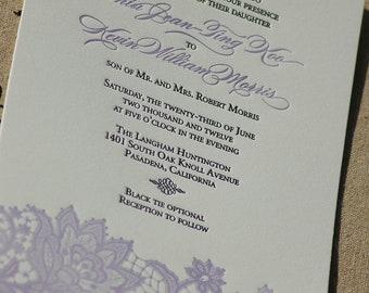 Letterpress Wedding Invitation featuring  Lace Design DEPOSIT