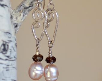 Rose Pearl Silver Earrings.  Royal Large Fresh Water Pearls Hand Forged Earrings. Wedding Bridal Gemstones Sterling Silver Earrings.