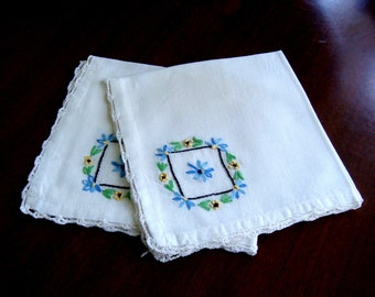 Vintage Luncheon Napkins, Two Blue Embroidered Cloth Napkins, Set of Two Floral Lunch Napkins