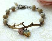 A Leaf Branch Garden Twig Antiqued Brass Bracelet. Nature Inspire Bracelet, For BFF. For Sister. Wedding Bracelet,