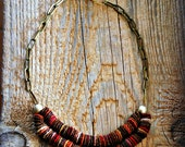 Brown Fiber Necklace with Handmade Clay Beads.