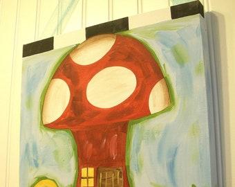 "Baby nursery wall art Girl kid room decor Original canvas painting Painted artwork 12 x 12 red white blue toad stool ""woodland mushroom"""