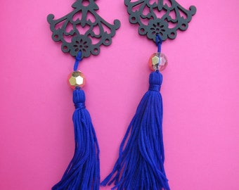 Royal  Blue Tassel Vintage Wooden Black Chandelier Silhouette Earrings