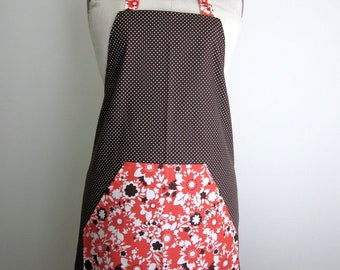 Brown Polka Dot and Red Floral Full Apron