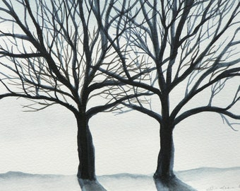 original watercolor painting of a silhouette of trees in winter
