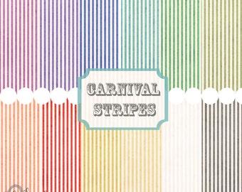 Instant Download - Watercolor Carnival Stripes 12x12 printable paper set digital download