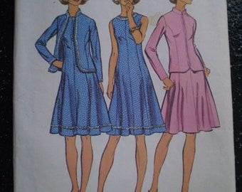 Vintage 1972 Simplicity Pattern 5476 Princess Dress and Jacket, A Look Slimmer Pattern, Size 12