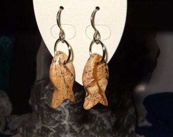 Gemstone Carved Fish Shaped EarringsTitanium Ear Wires Hypo Allergenic Picture Jasper Handmade in Newfoundland