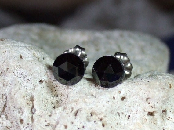 Black Spinel Rose Cuts 6mm Stud Earrings Titanium Post and Clutch Hypo Allergenic Handmade in Newfoundland Kundalini
