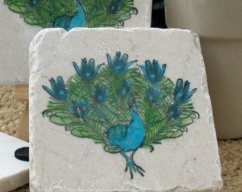 Peacock Coasters - Housewarming Gift - Absorbent Tile Coasters - Office and Kitchen Decor