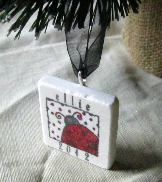 Personalized Ladybug Christmas Ornamen -  Gift Box