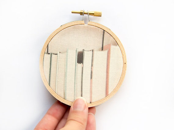 Book Photograph - 3 inch hoop - Photography on Fabric - dorm decor - back to school - modern wall hoop art - book collection