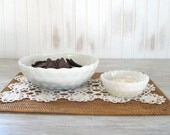 Milk Glass Bowls, Vintage White Anchor Hocking Bubbles Pattern, Set of 2