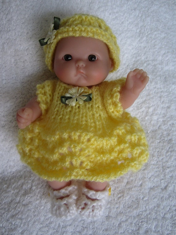 Hand Knit Yellow Dress Set for 5 inch Berenguer Bitty Baby Doll Clothes