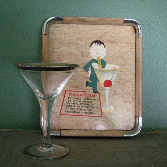 Vintage Wooden Drink Tray with Manhattan Drink Recipe