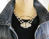 Necklace, Rhinestone Buckle, Vintage Focal and Japan Glass Pearl, Deco Delight