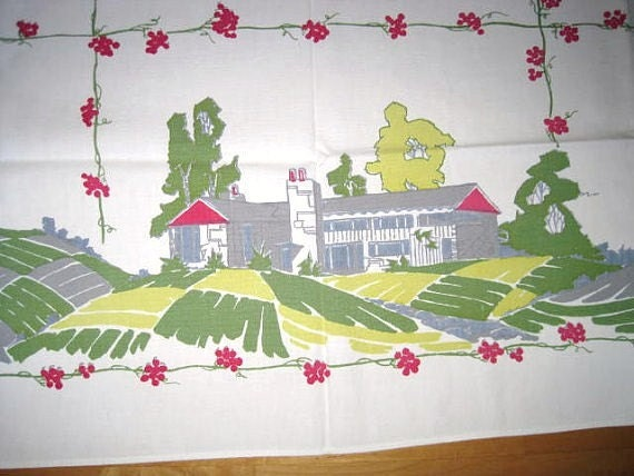 Vintage Tablecloth Startex Ranch Houses