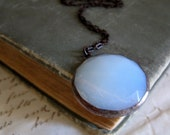 Moon Necklace Stained Glass Jewelry White Faceted Glass Pendant