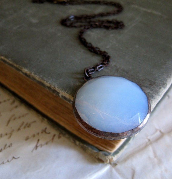 Moonstone Necklace Stained Glass Jewelry White Faceted Glass Pendant
