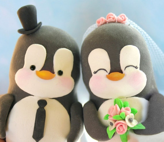 Custom Penguin wedding cake toppers - love birds personalized