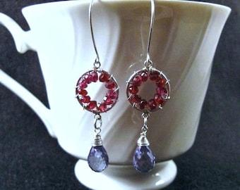 Pinwheel Design- Earrings, Silver, Garnet, Blue Quartz, Wire Wrapped
