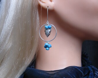 Double Cluster Earrings- Silver Hoops, Turquoise Clusters