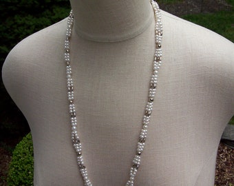Flapper style pearl bridal lariat necklace with silver long