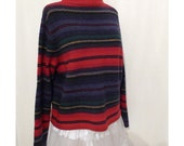 Vintage Lambswool Striped Sweater Blanket Jacket Style Unisex SouthWest Colors Pullover sale