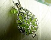 Worry Locket - peridot teardrop locket / locket necklace / silver locket / peridot locket  / peridot necklace / living locket