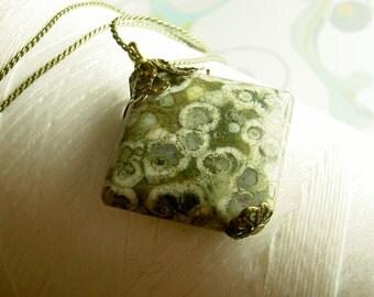 Ocean Floor - ocean jasper necklace / jasper necklace / green necklace / seaweed necklace / green organic necklace / brass necklace