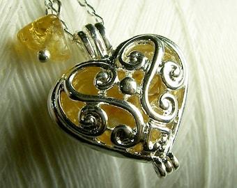 Worry Locket - citrine heart locket / heart locket / silver locket / citrine necklace / heart necklace / floating locket / citrine locket