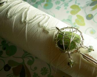 Dream Catcher - dark green silver / dream catcher / dreamcatcher necklace / sea glass necklace / seaglass jewelry / green necklace