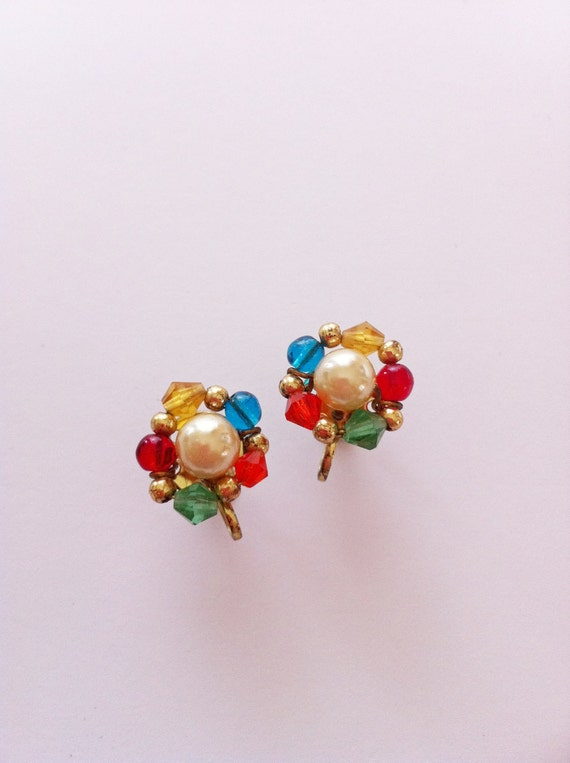 Vintage Rainbow Bead Earrings with Faux Pearl Center