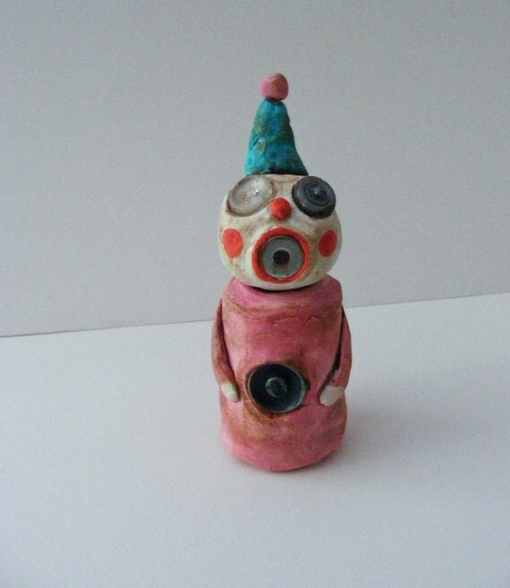 Vintage Style Primitive Halloween Folk Art Little Clown