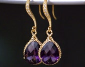 Amethyst Teardrop Crystals Set in Gold on Pave' Diamond French Earrings