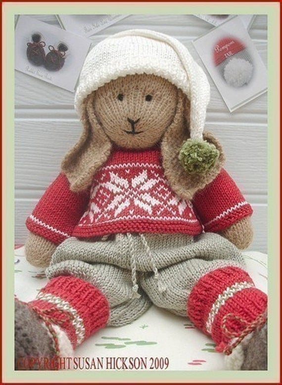 BO Rabbit / Bunny PDF Toy Knitting Pattern / Lapland Visitors Part 1 / Plus Free Handmade Shoes Knitting Pattern/ INSTANT Download