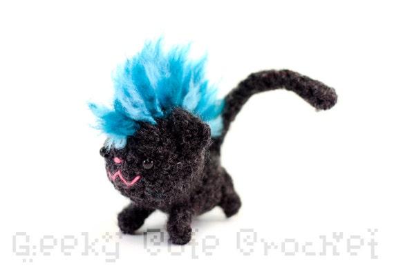 Mohawk Kitty Amigurumi - Blue Mohawk